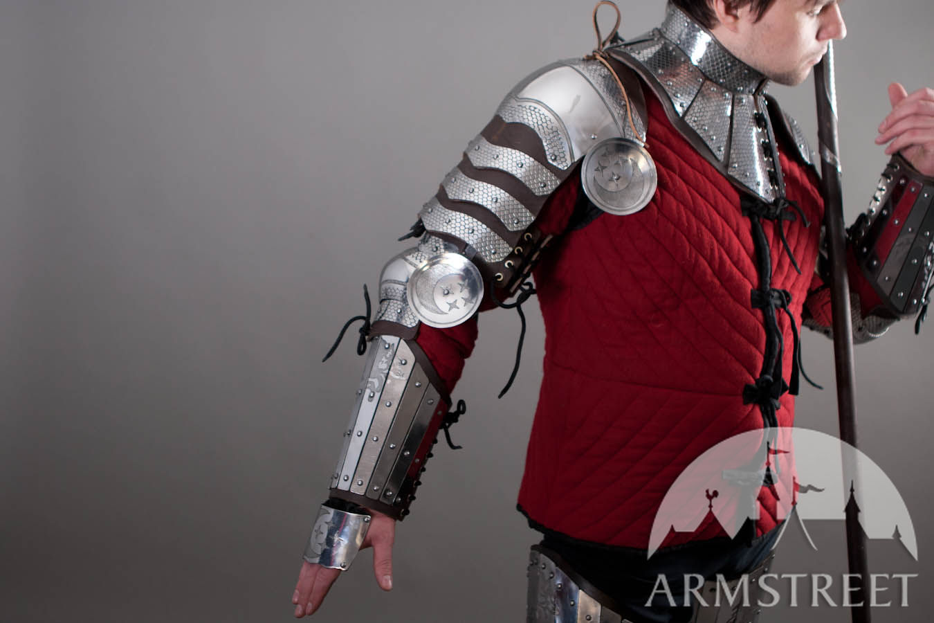 Fantasy Pauldrons Armor Leather And Etched Stainless