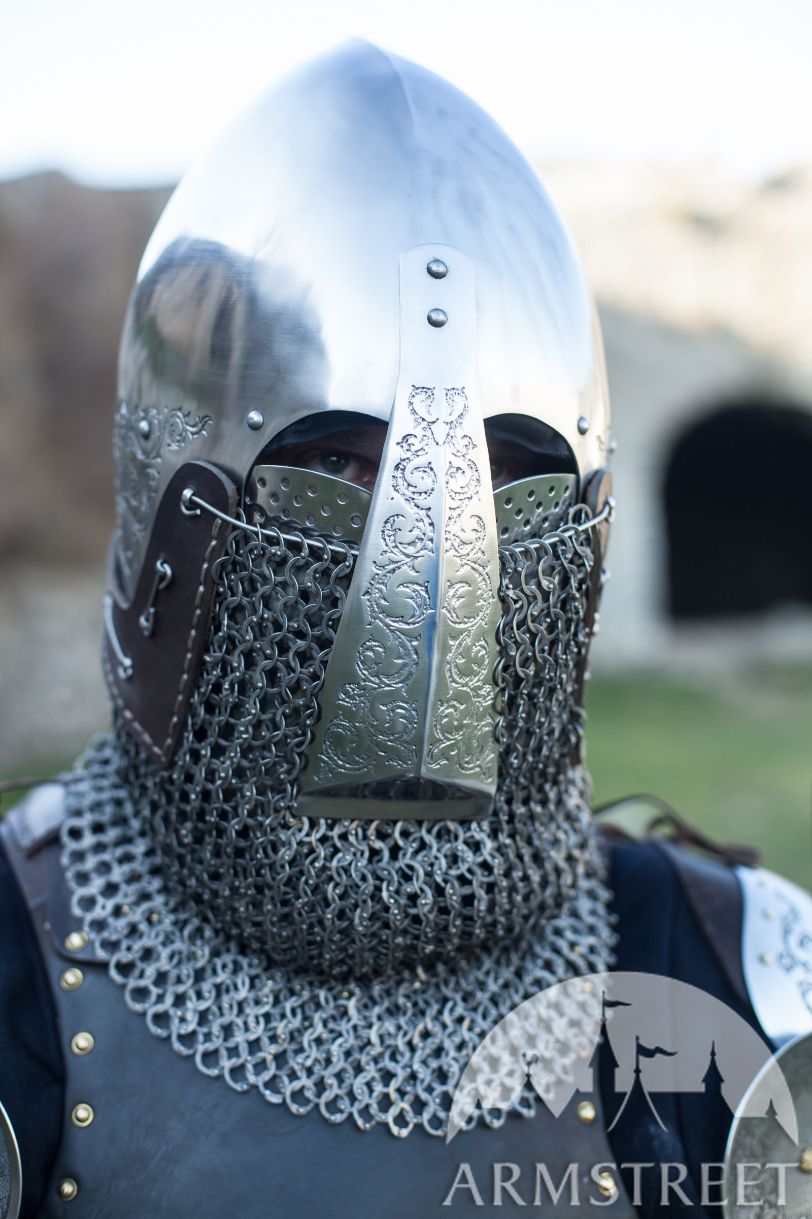 "Bascinet Helmet with Nasal Plate ""Knight of Fortune"""