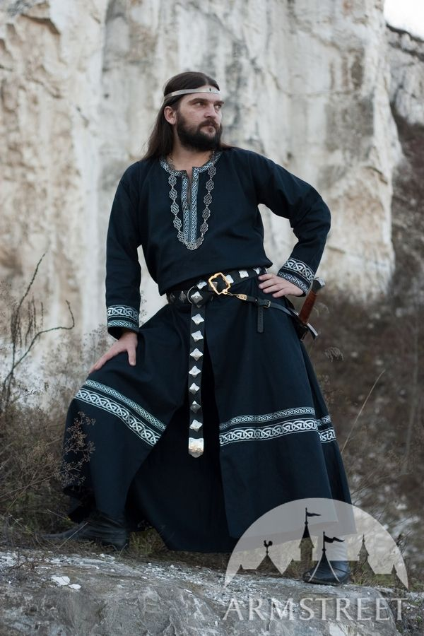 Cotton Black Medieval Tunic With Celtic Pattern Trim For