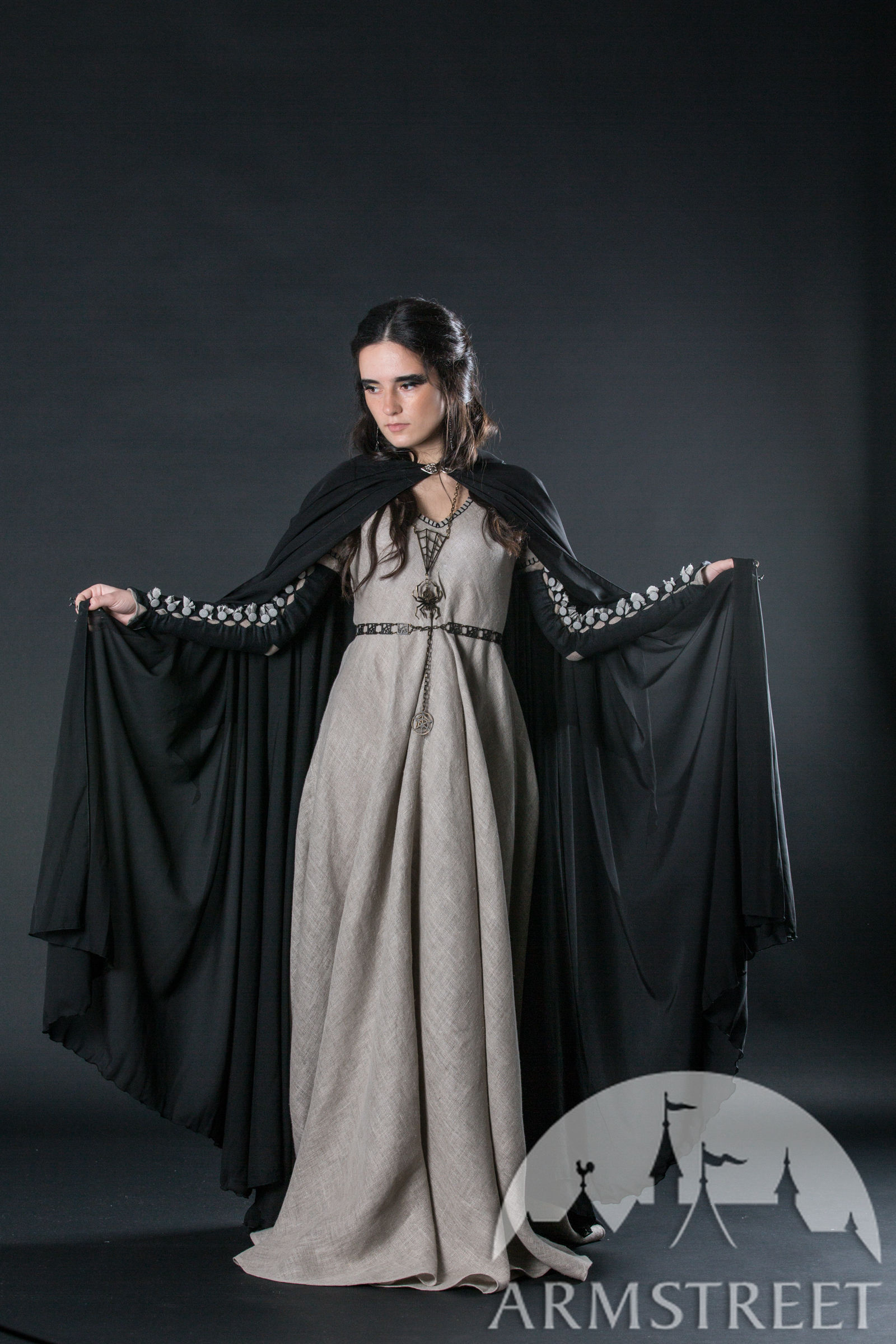 black semitransparent medieval fantasy cloak robe for