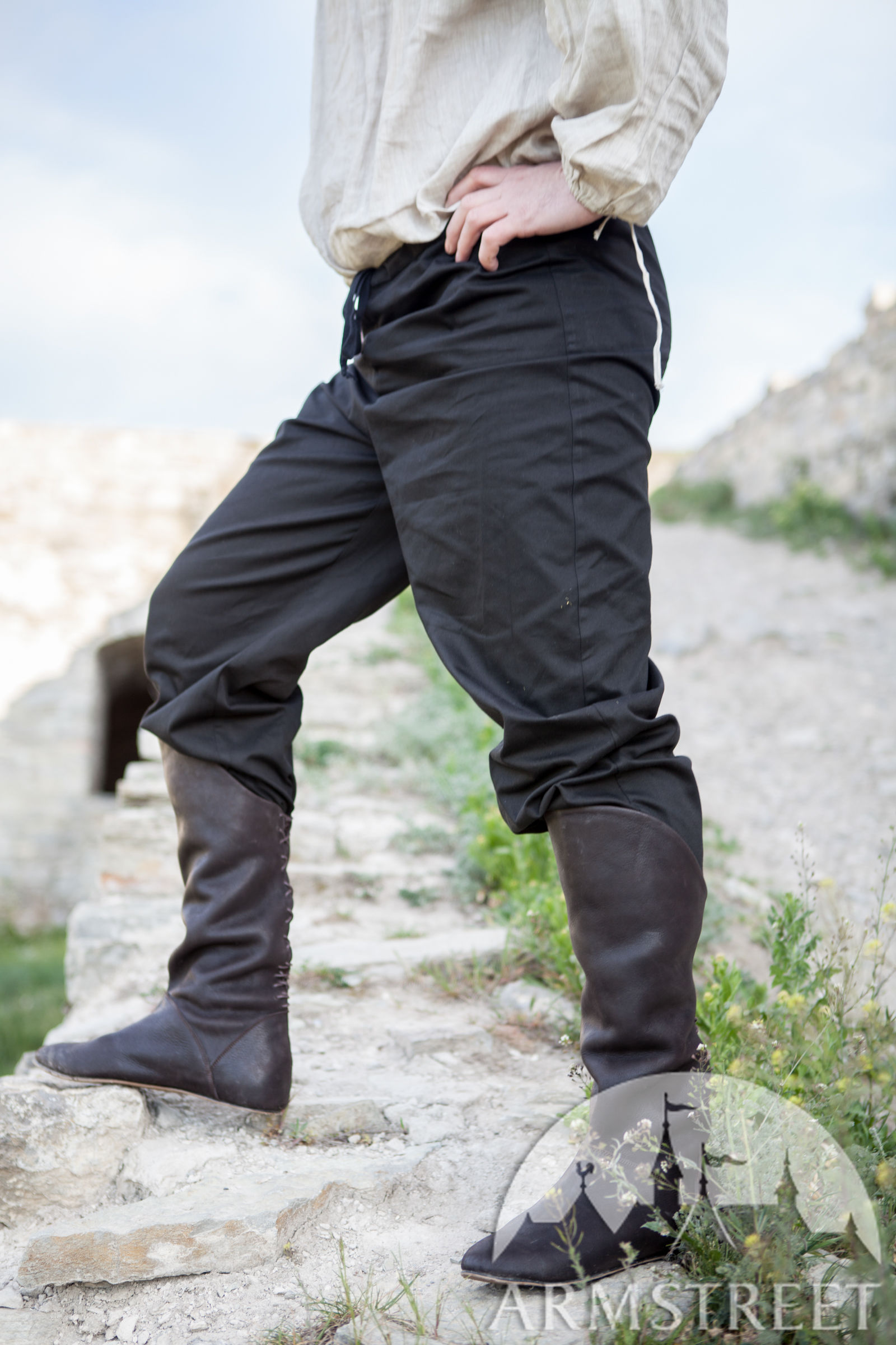 black cotton medieval pants for sale available in dark