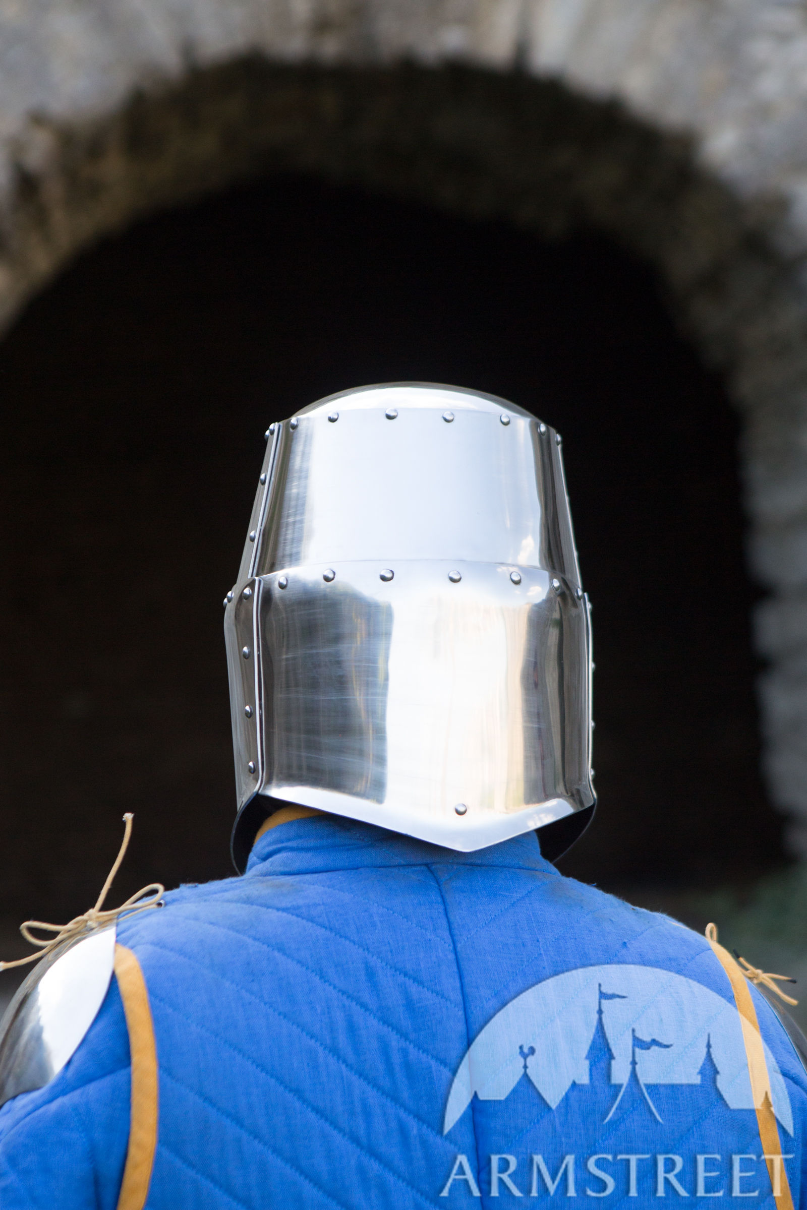Classic Medieval Greathelm top helm for sale. Available in