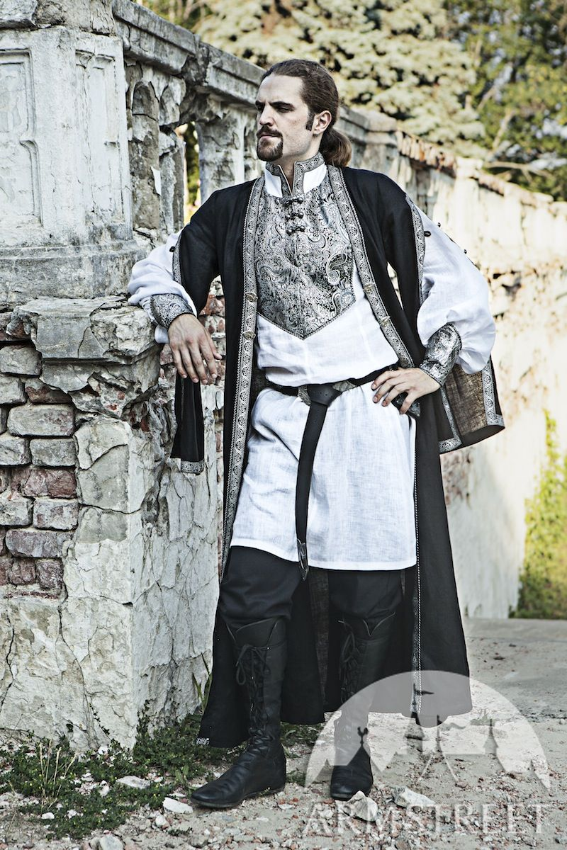 Eastern Europe Linen Overcoat Costume. Available in green flax linen blue flax linen yellow ...