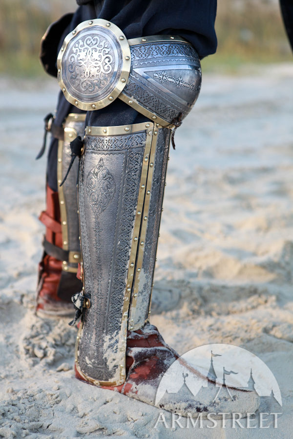 Eastern Style Functional Medieval Etched Greaves With Cops