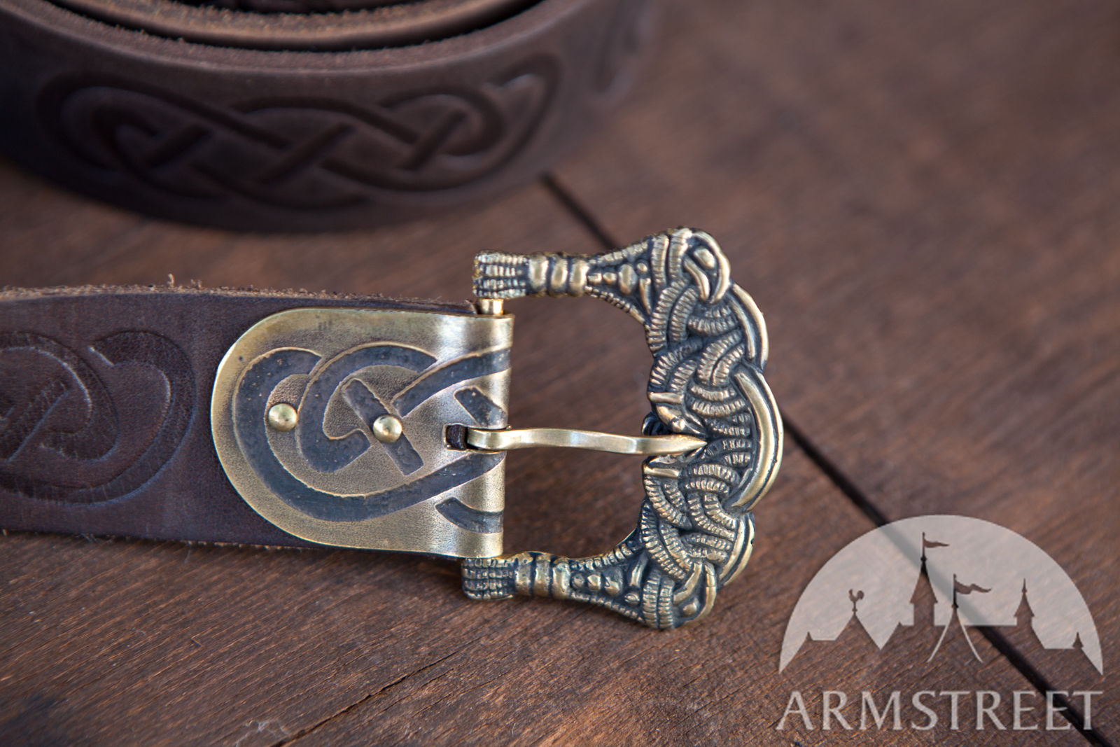 Embossed Viking S Leather Belt Available In Brown