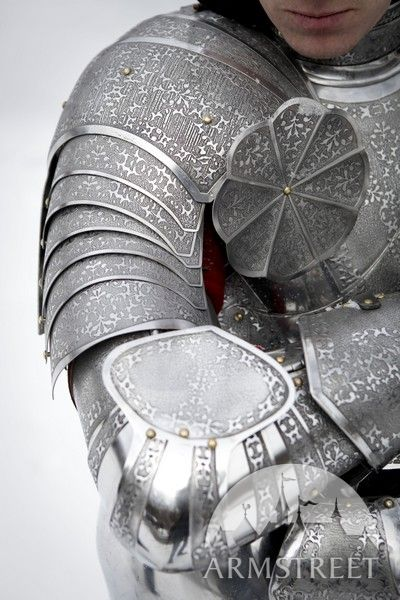 Medieval etched Paladin pauldrons armor