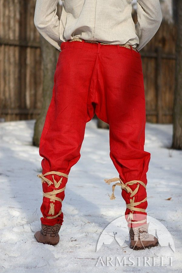 Natural Flax Medieval Pants With Straps For Sale