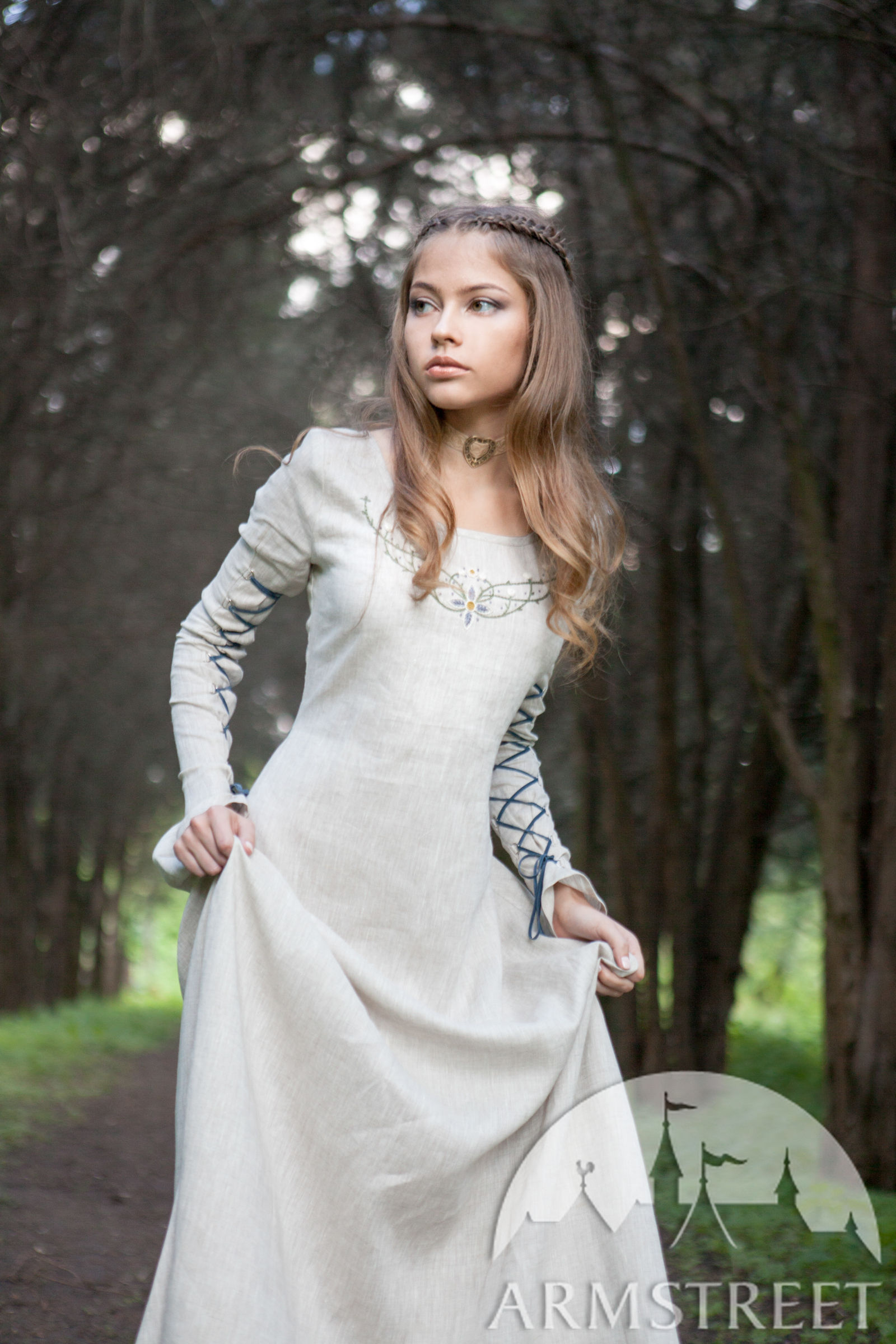 """Fairy Tale"" Linen Dress. Available in  green flax linen"