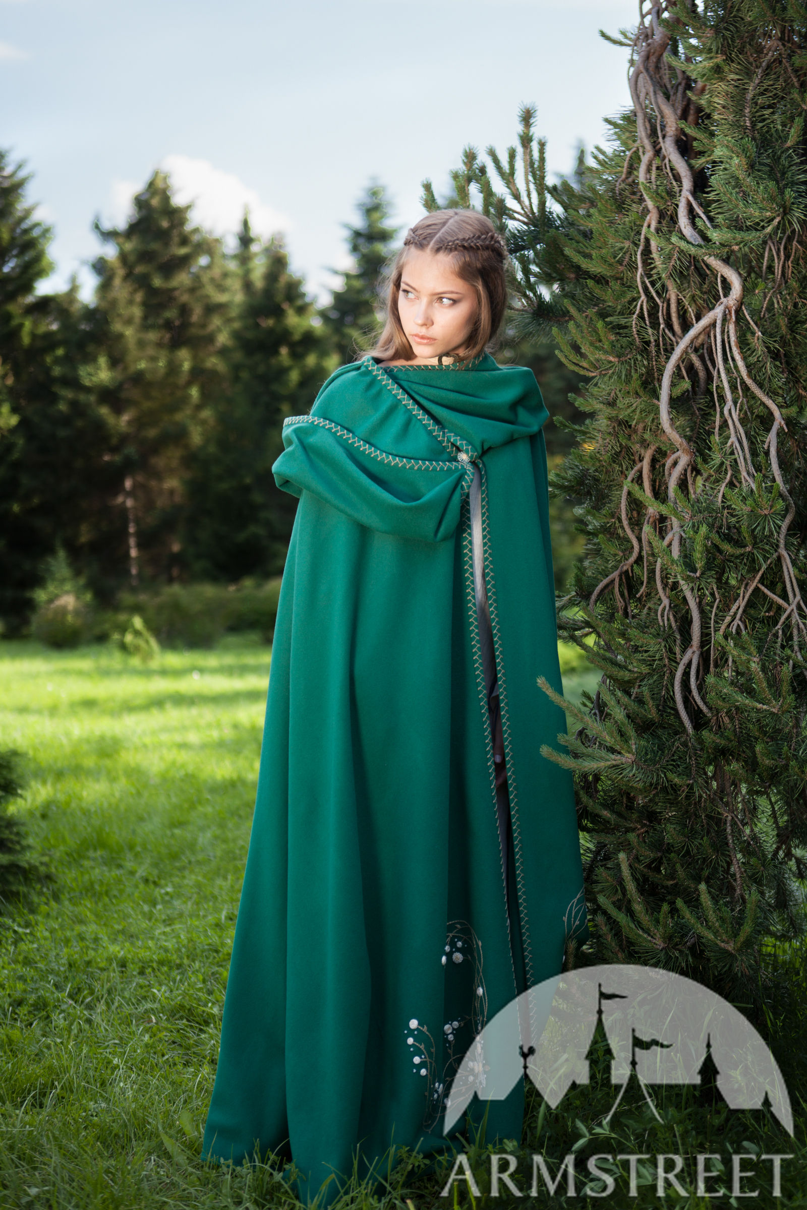 Fairy Tale Linen Dress Wool Cloak And Jewelry Armstreet