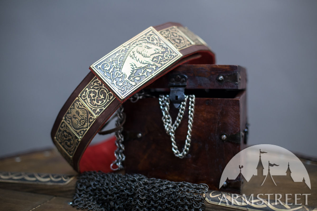 Medieval Heavy Belt With Etched Boar Patterns For Sale