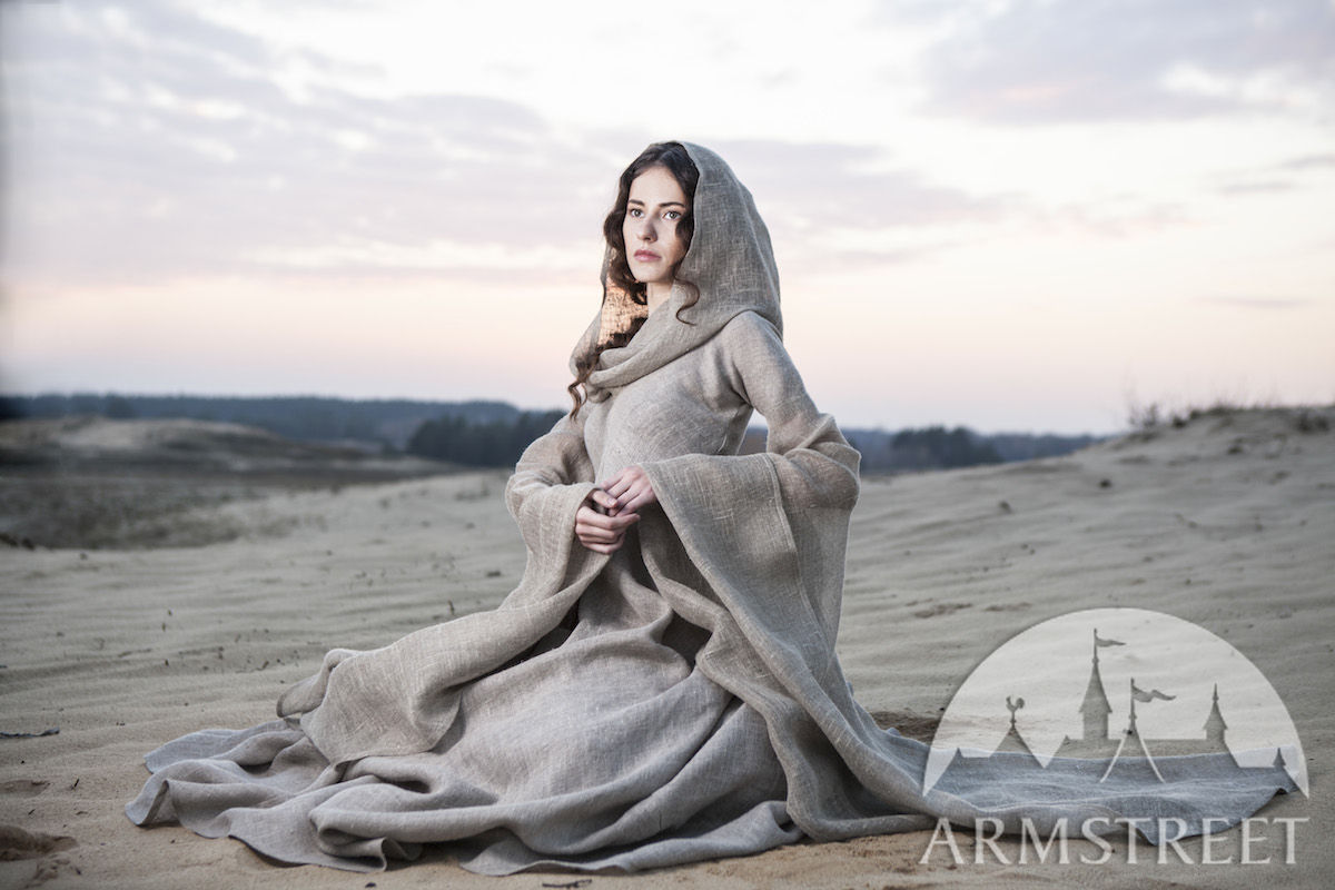 Fantasy Linen Robe Wanderer Available In Sackcloth Flax Linen By Medieval Store Armstreet