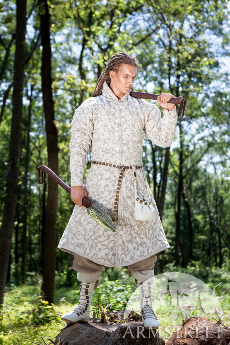 Fantasy Medieval Long Gambeson Coat Available In Green