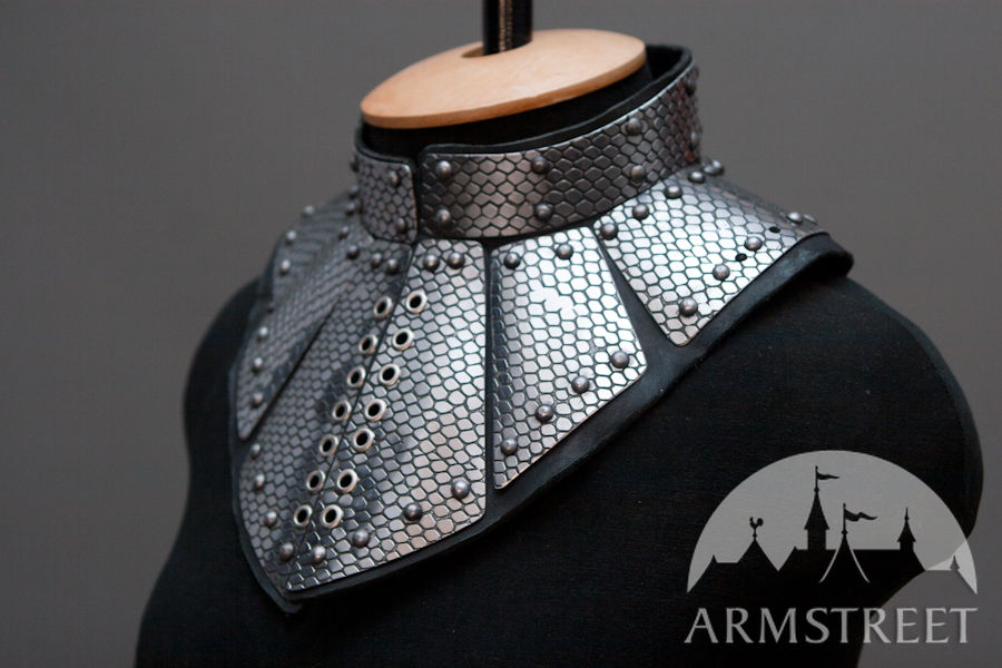 Fantasy Gorget Armor Etched Leather And Stainless Steel