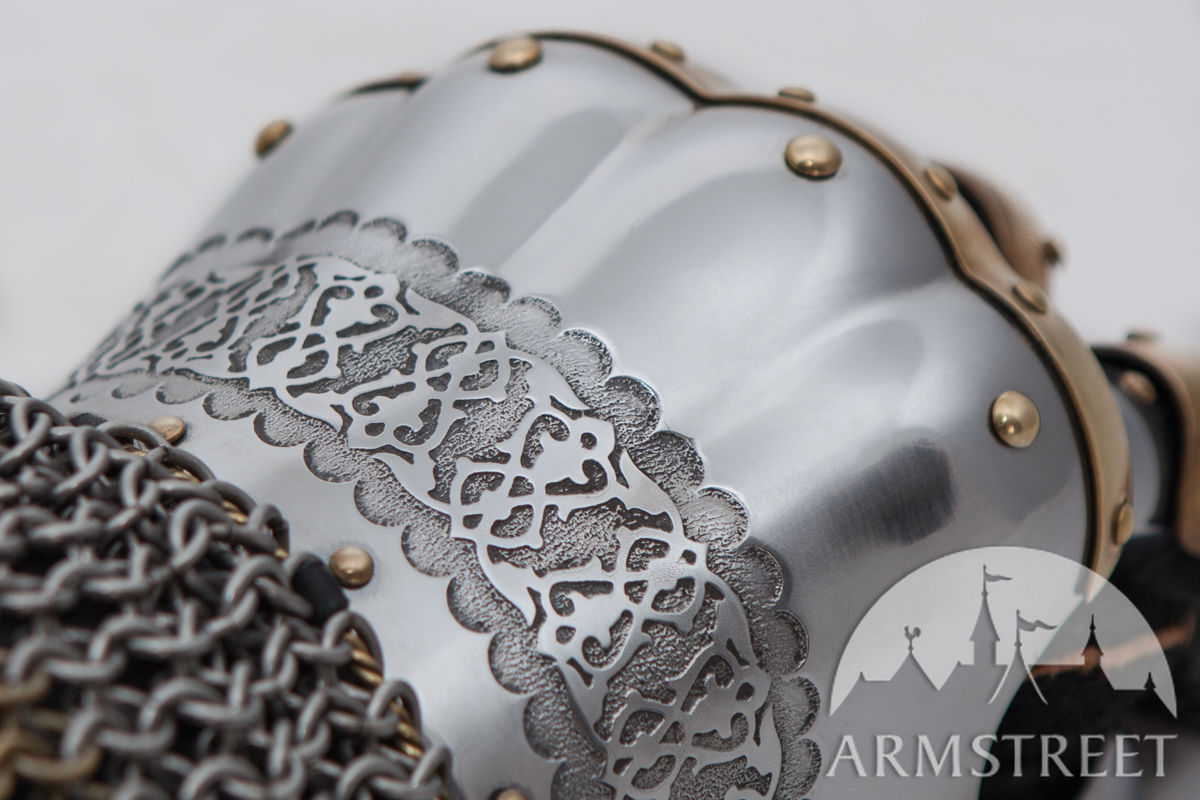 Etched stainless steel | Eastern style finger gauntlets