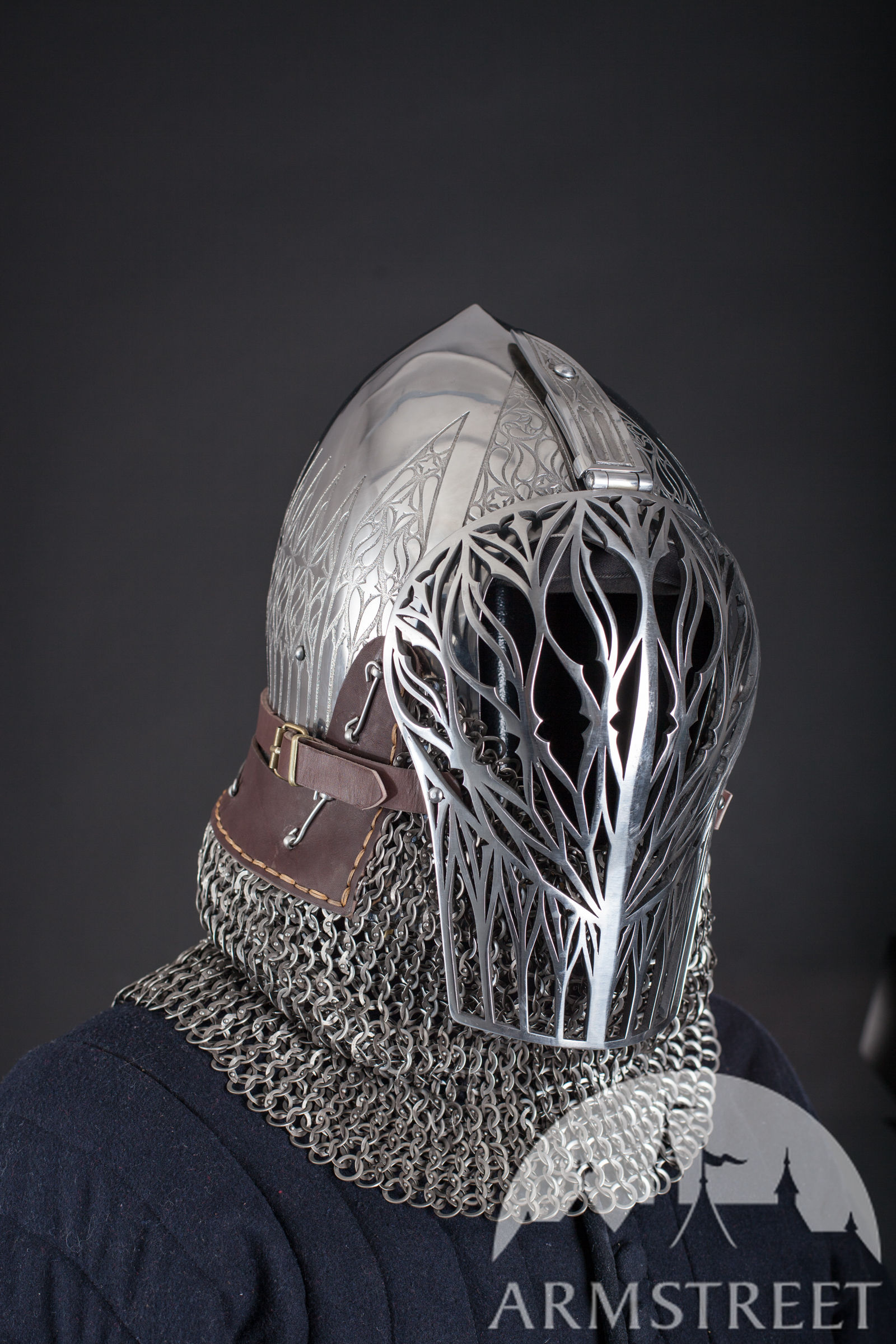 Foliate Medieval Helmet Laser Cut Visor For Sale