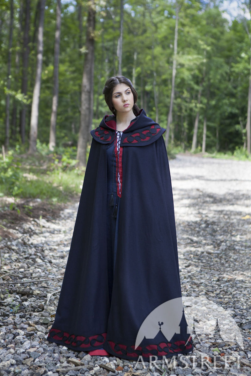 woolen medieval cloak forget me not available in black wool red