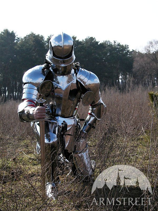 Full gothic knight armor suit - sallet, pauldrons, breastplate with backplate and tassets, finger-ga
