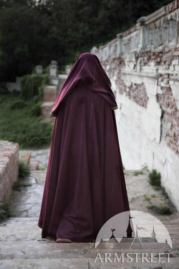 Full Round Woolen Medieval Hooded Cloak Available In