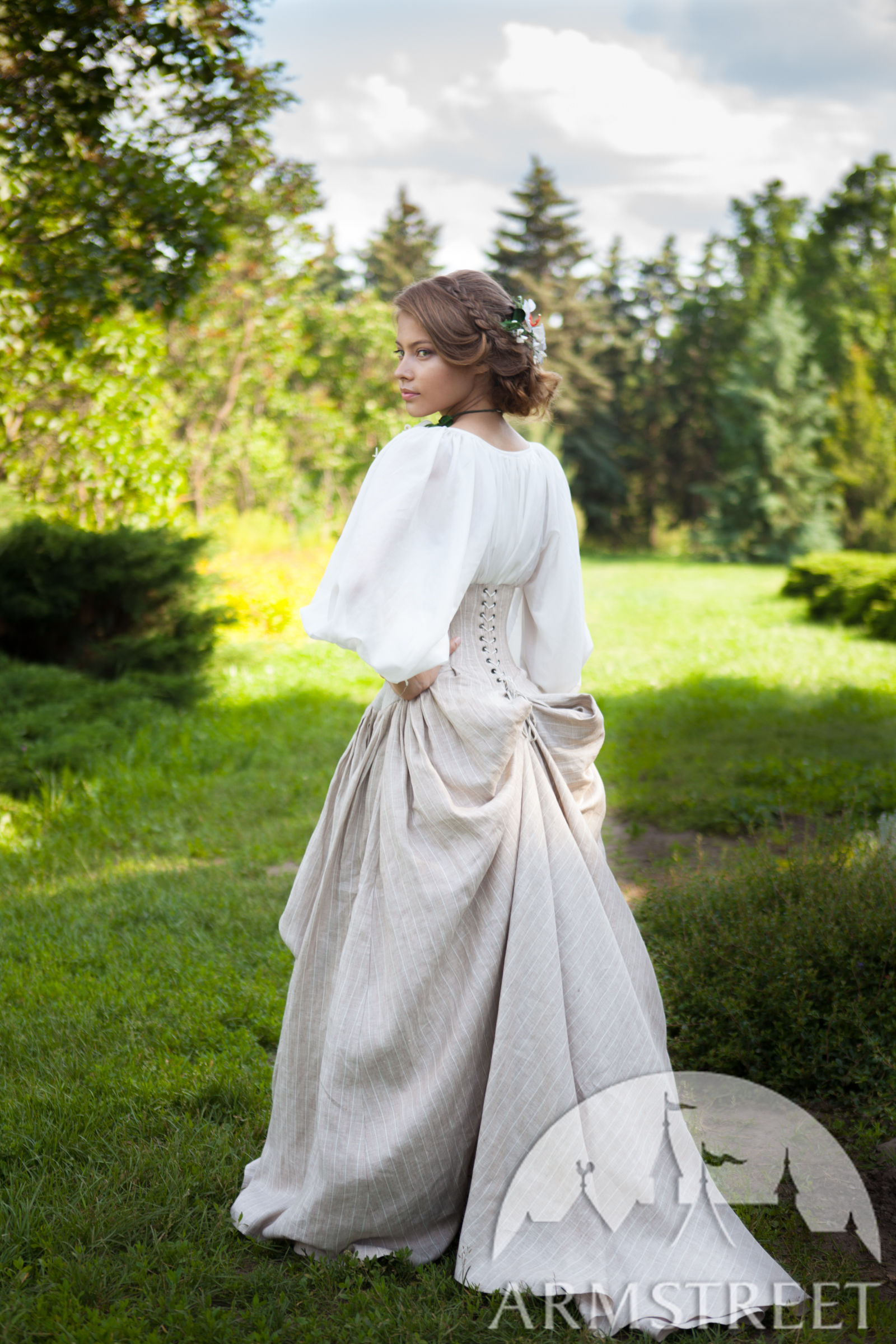 full snow white dress set chemise corset skirt and