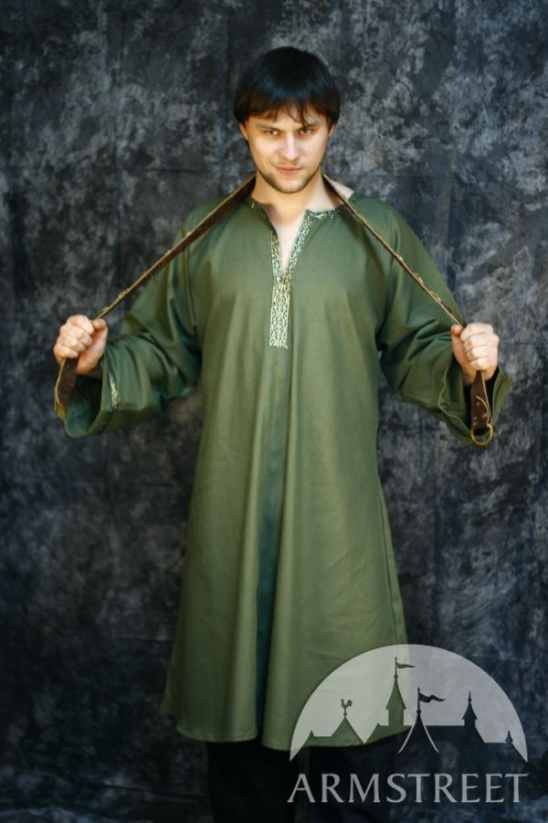 Medieval Tunic Made Of Natural Green Cotton For Sale