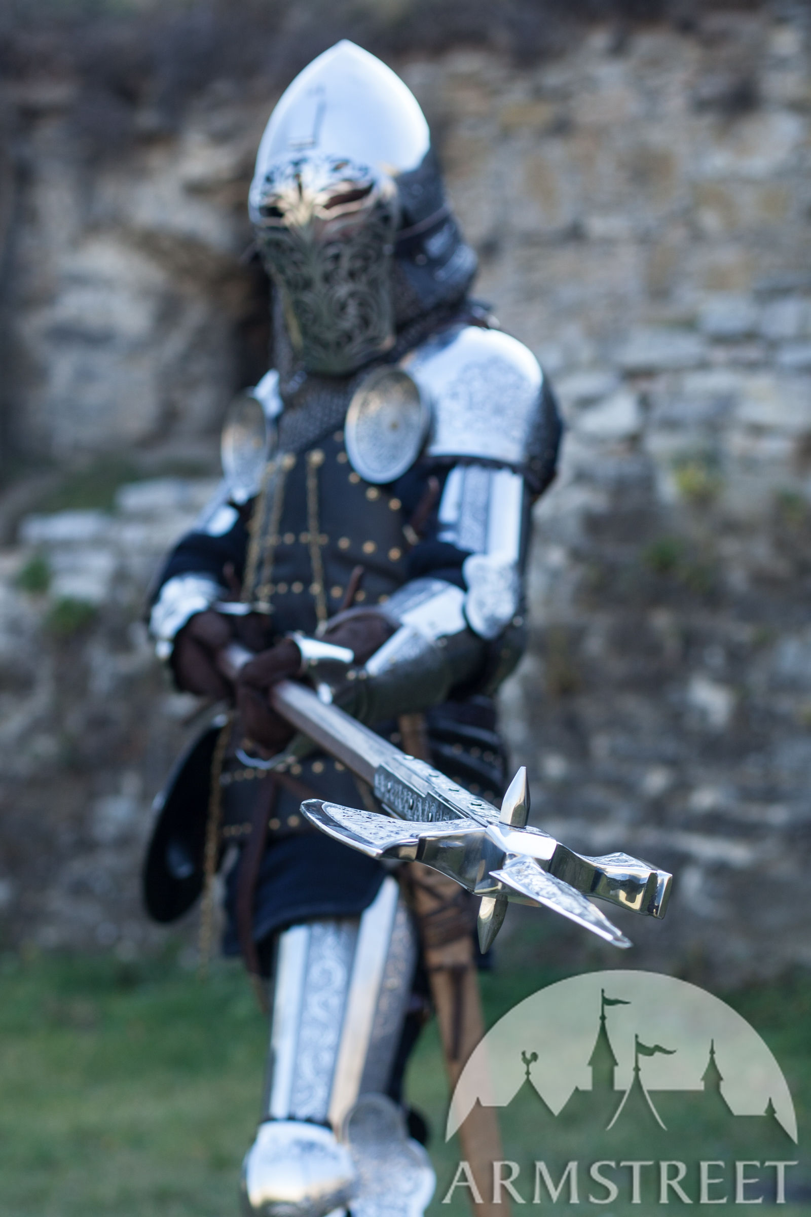 Lightning Black Knight Halberd Halberd Decorative Stainless Head Knight Of Fortune
