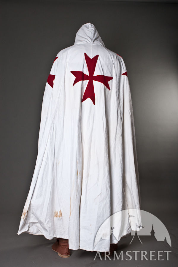 Knights Templar Costume & Medieval Knight Crusader Cloak For
