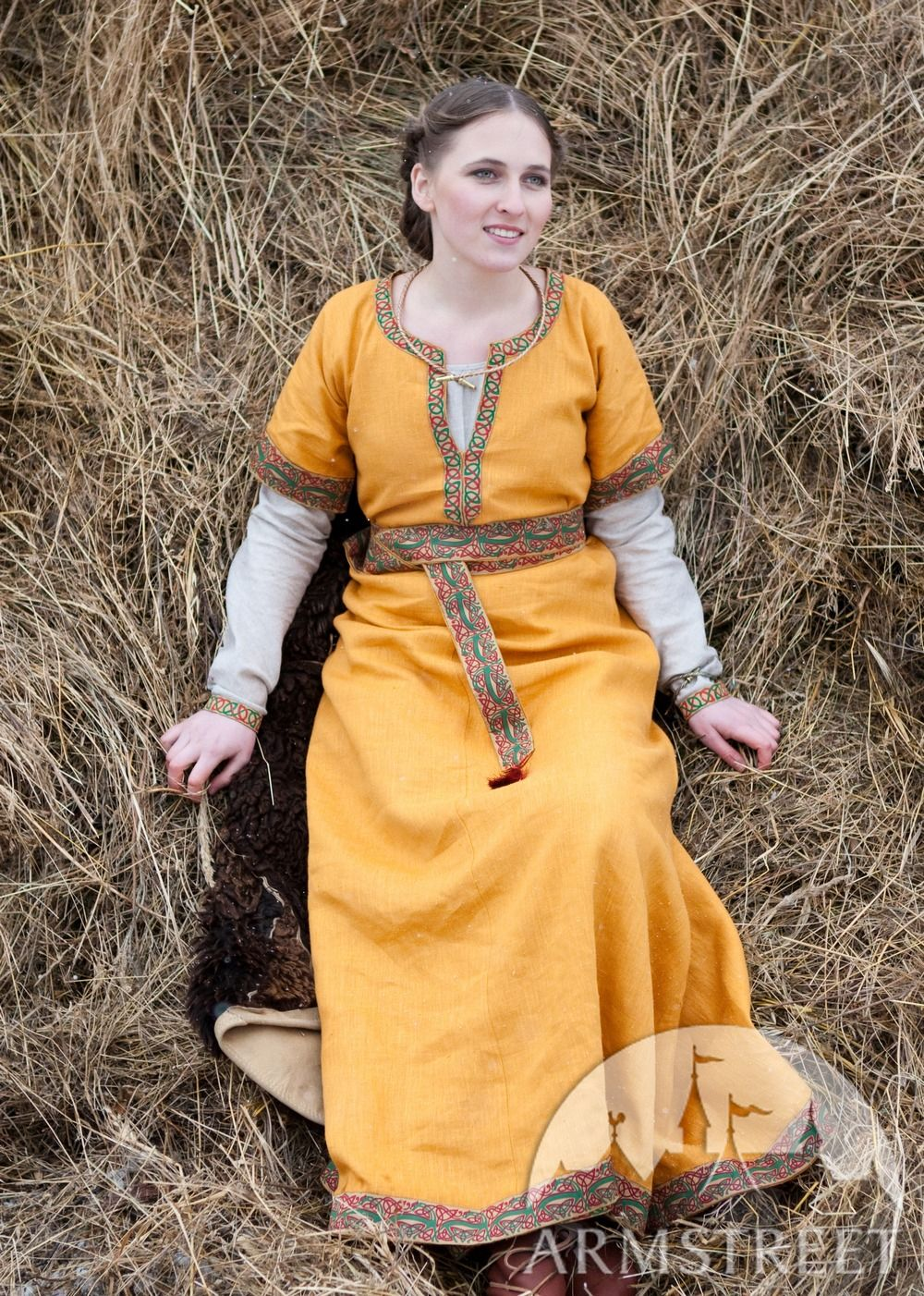 Medieval North Europe Norman Celtic Flax Linen Dress With