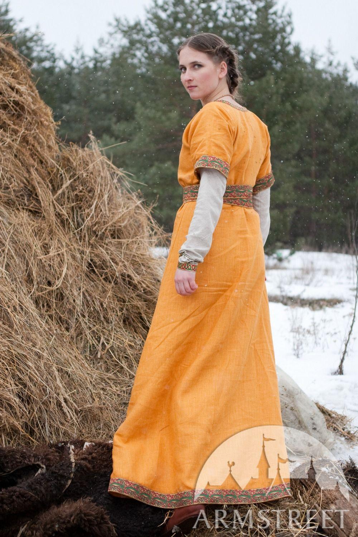 Full dark-ages North Europe women's medieval travel dress ...