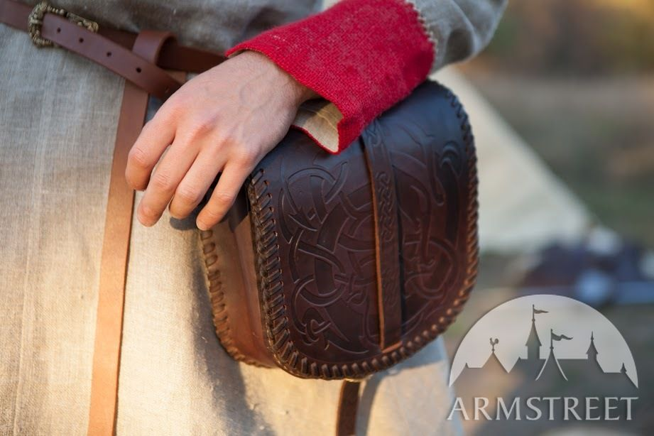 Large Viking Leather Bag Available In Brown Leather