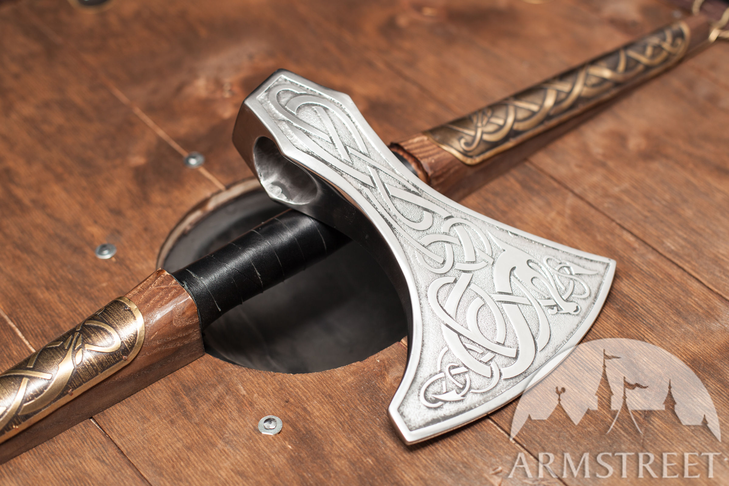 Large Etched Viking Medieval Axe Available In Stainless