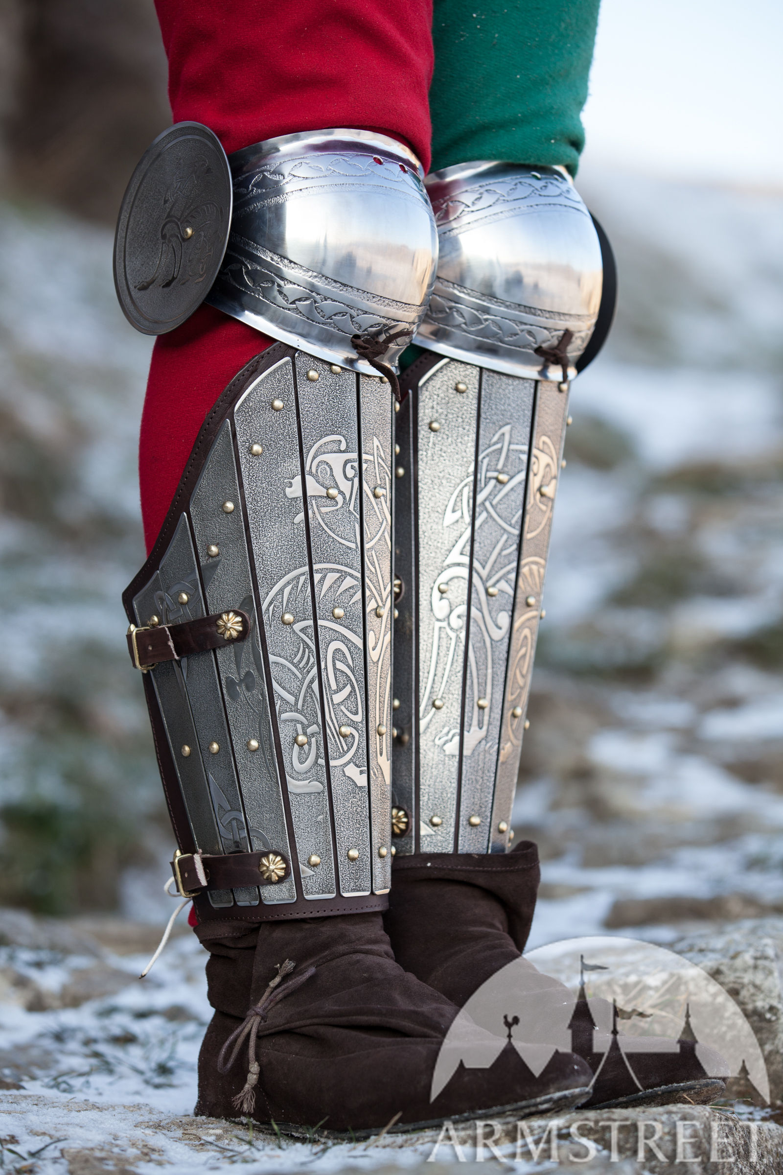 Medieval Sca Legal Splint Combat Armor Greaves With Knee