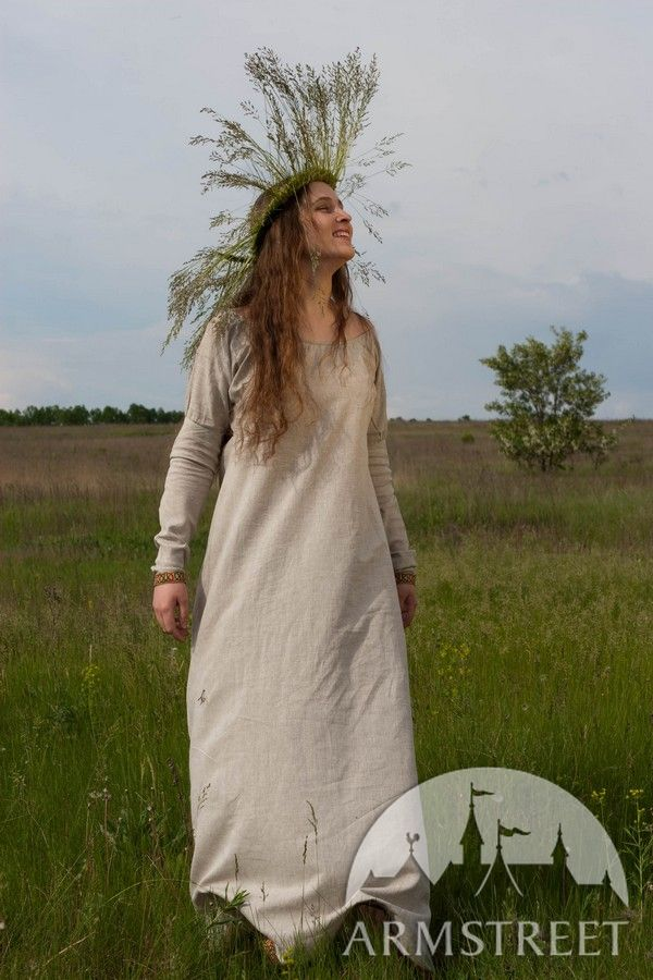 Medieval Natural Flax Linen Costume Dress Chemise For Sale