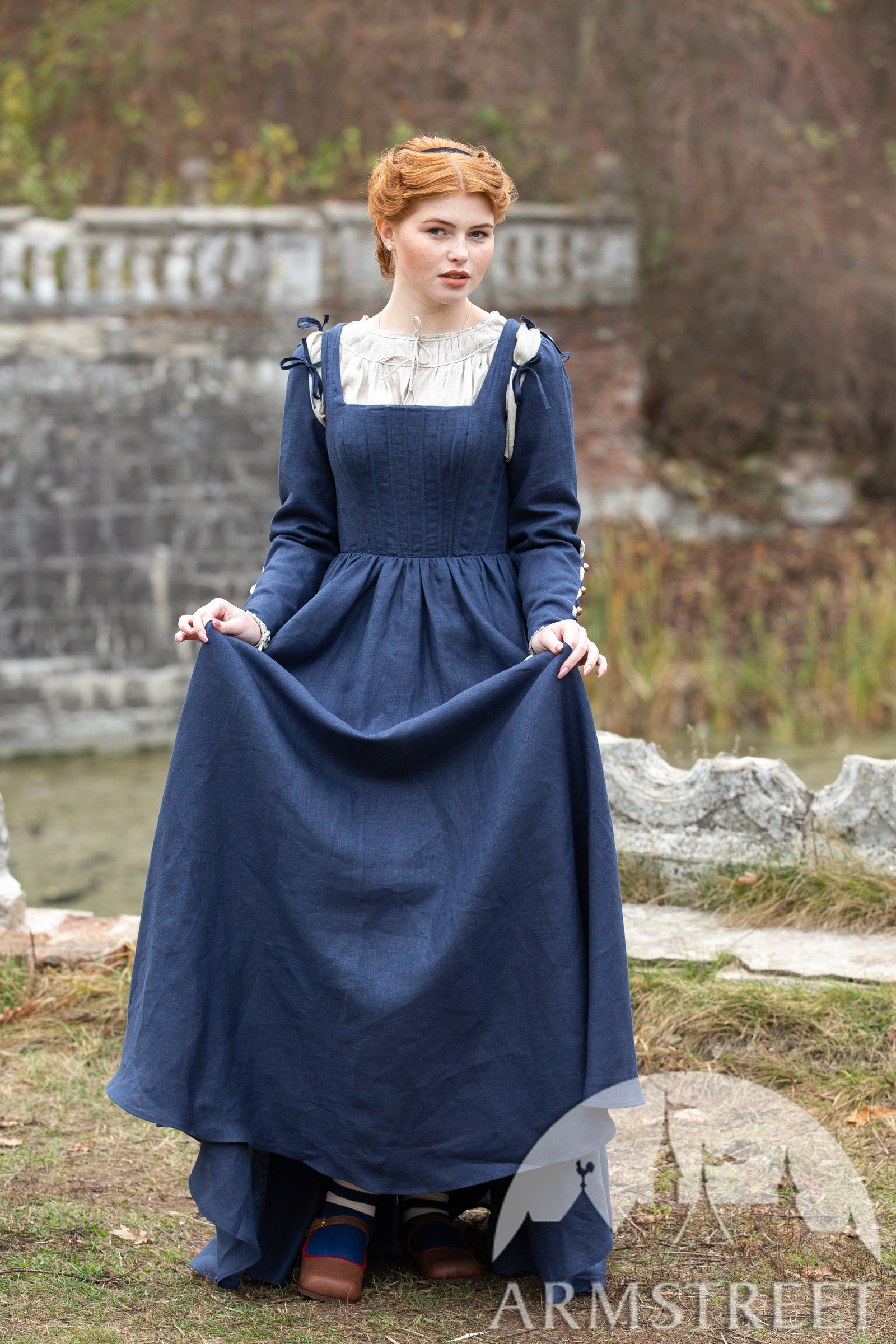 Linen Boned Corset Kirtle Dress German Rose For Sale