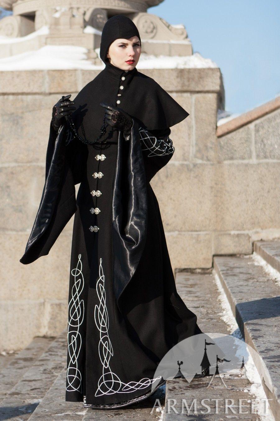 Exclusive long woolen cloak with hood Blackbird by ArmStreet for