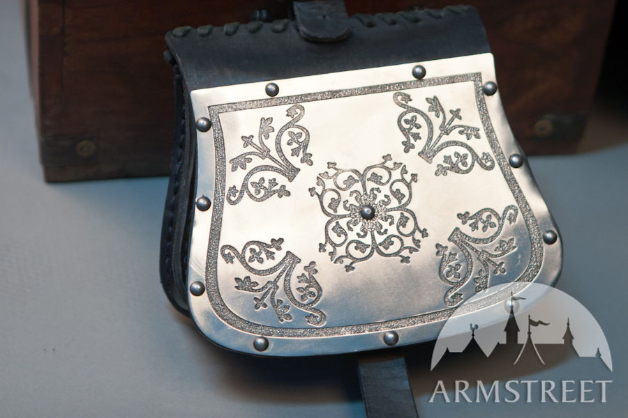 Medieval Bag With Etched Steel Western Pattern For Sale