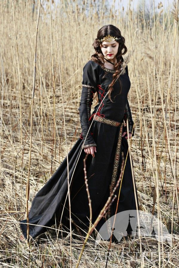 medieval black cotton dress quotlady hunterquot available in