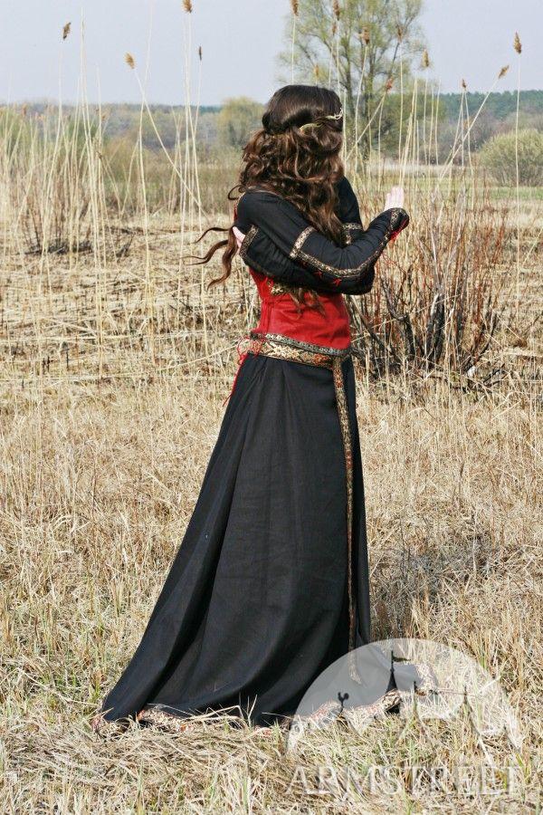 Medieval Black Cotton Dress With Bodice Vest Quot Lady Hunter