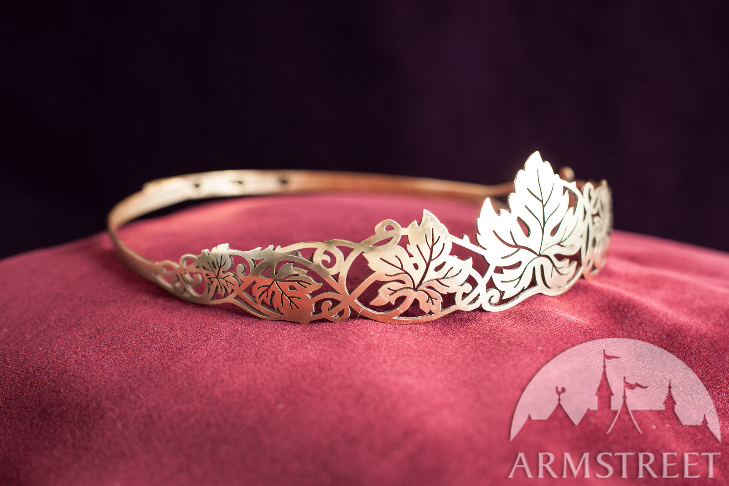 medieval brass crown circlet quotvine leavesquot available in