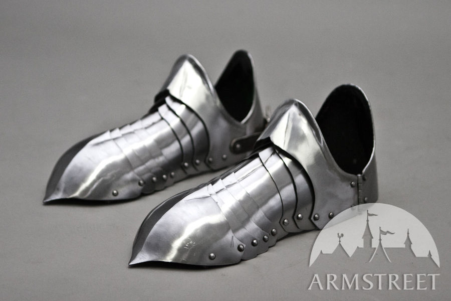 Fighters Leg Greaves in Handcrafted Leather /& Brass Stud Design Ideal for LARP