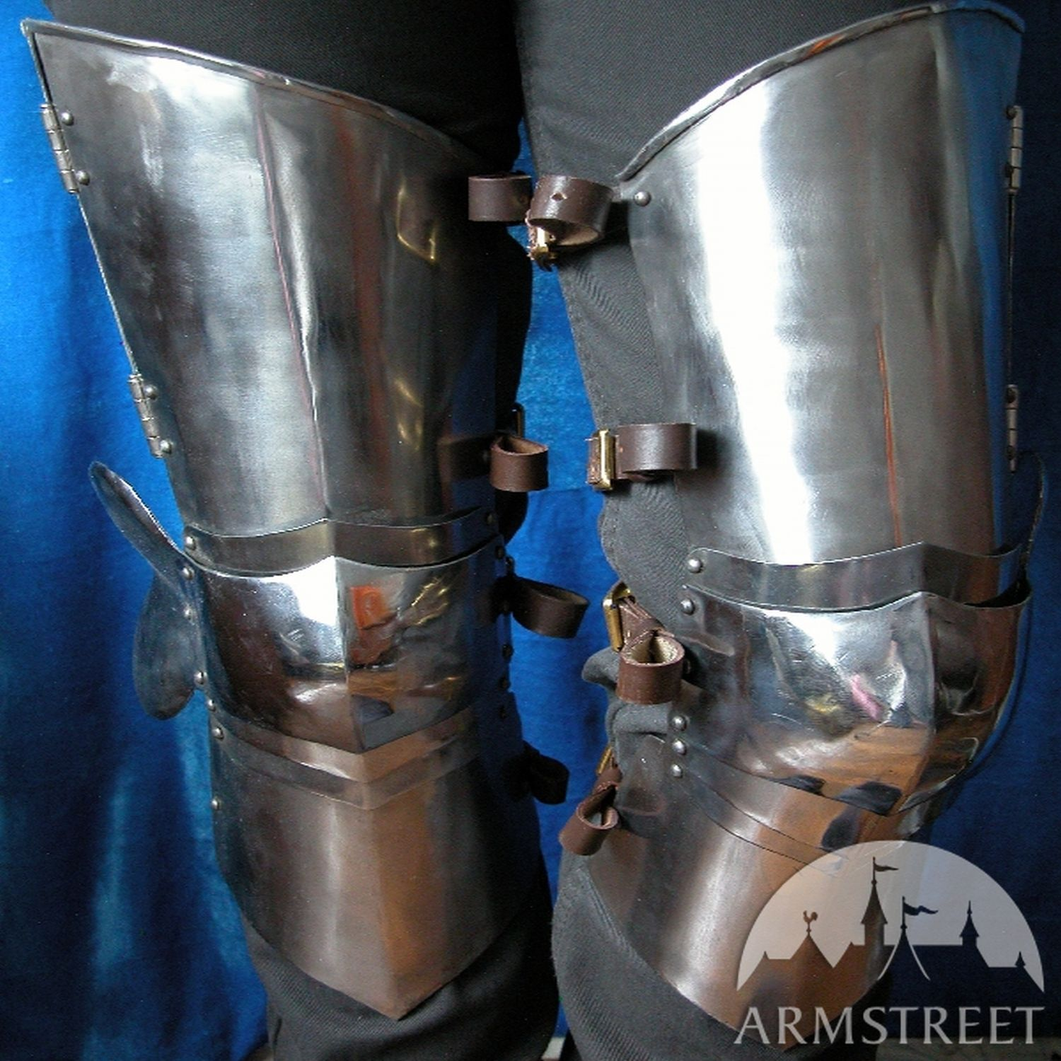 Medieval western leg armor thigh plates knee cops for sale by