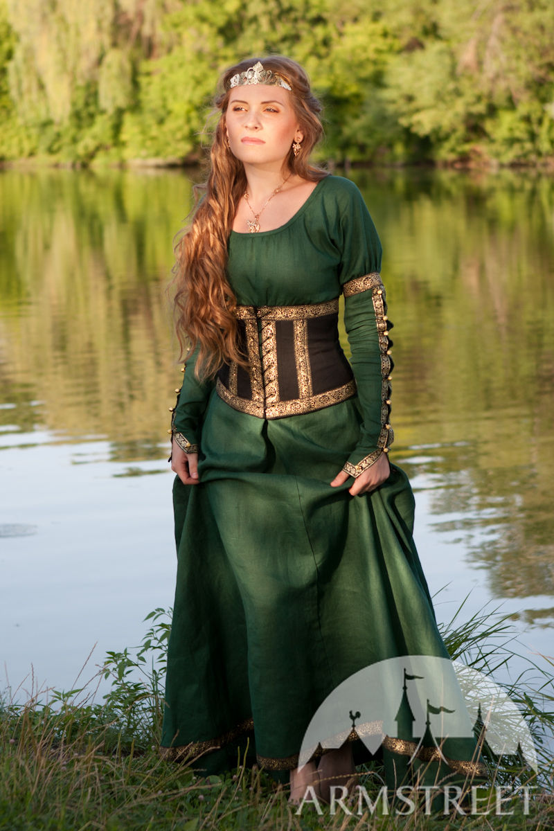 Medieval Fantasy Natural Flax Linen Dress With Wide Bodice