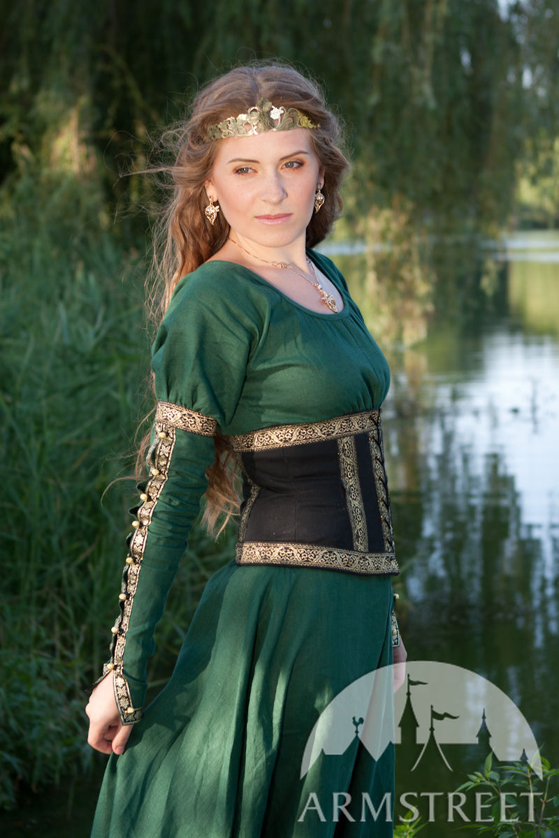 Medieval fantasy natural flax-linen dress with wide bodice type detachable  belt for sale. Available in  green flax linen