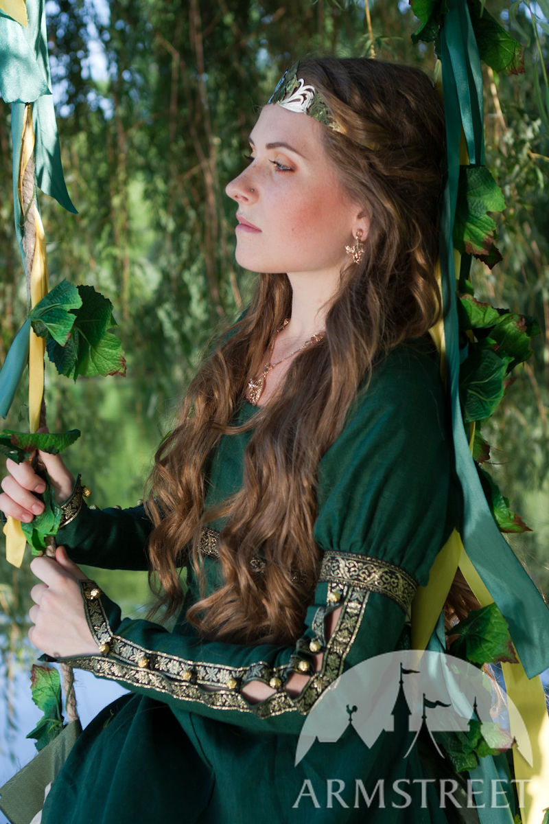 Medieval style flax fantasy dress with overcoat for sale :: by
