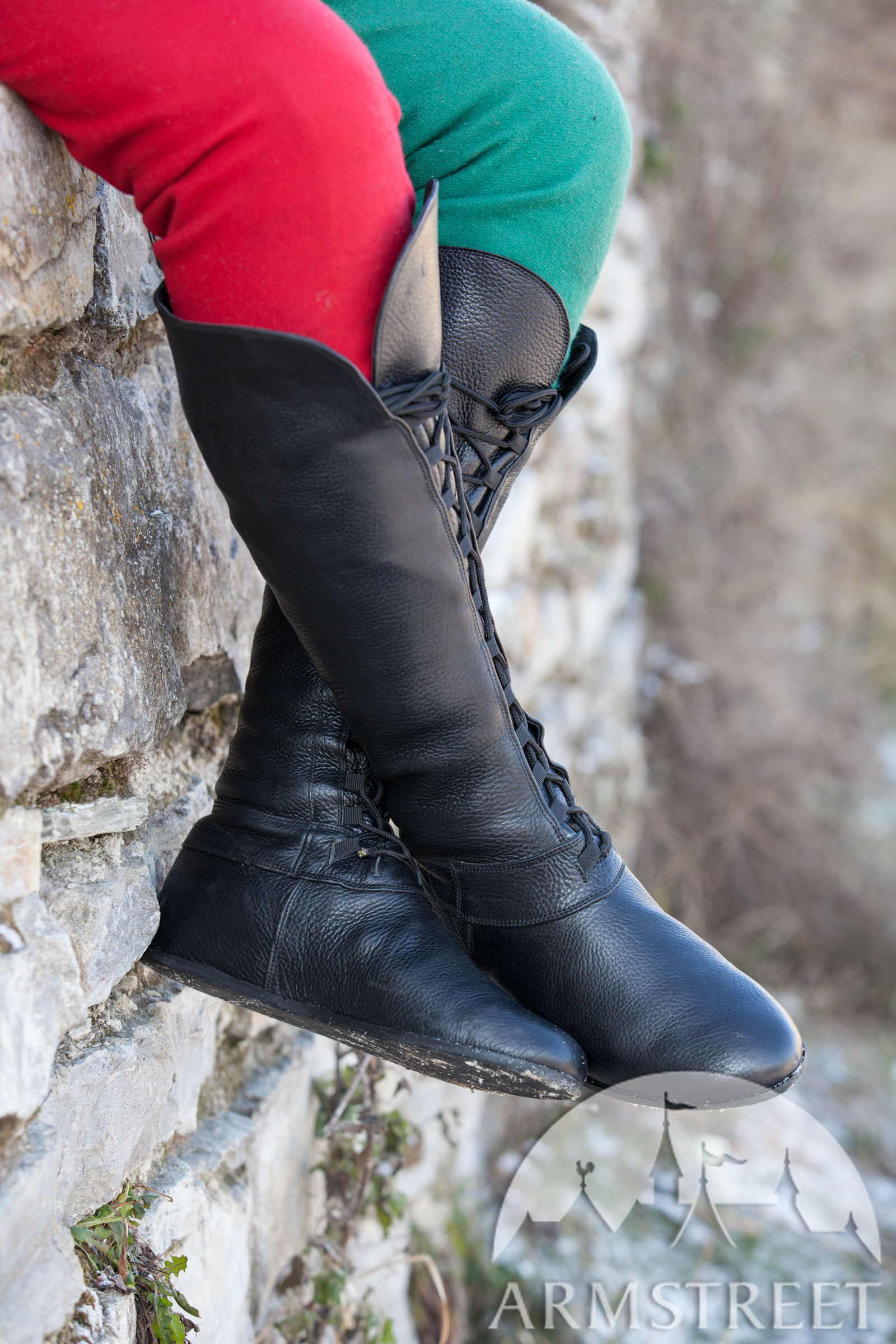 Medieval Fantasy High Boots Forest for sca and