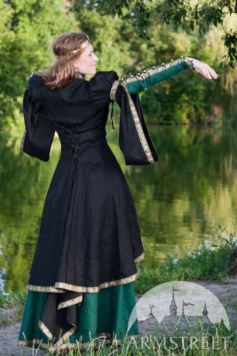 Medieval Black Flax Overcoat Quot Forest Princess Quot For Sale