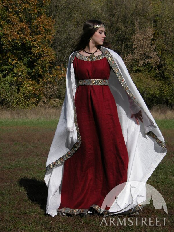 Medieval Flax Linen Western Dress Costume For Sale
