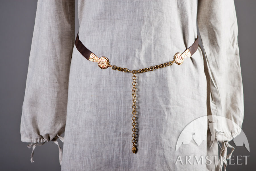 Medieval German Women S Belt With Brass Molded Accents For