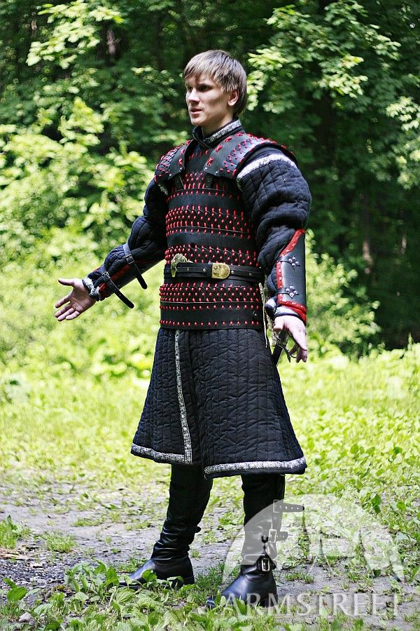 efd532027 Lamellar leather and steel armor suit for sale. Available in: black flax  linen :: by medieval store ArmStreet
