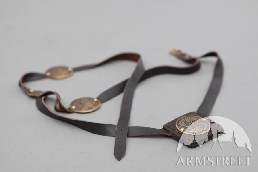 """Cintura medievale di pelle con accenti di ottone """"Arciera"""""""