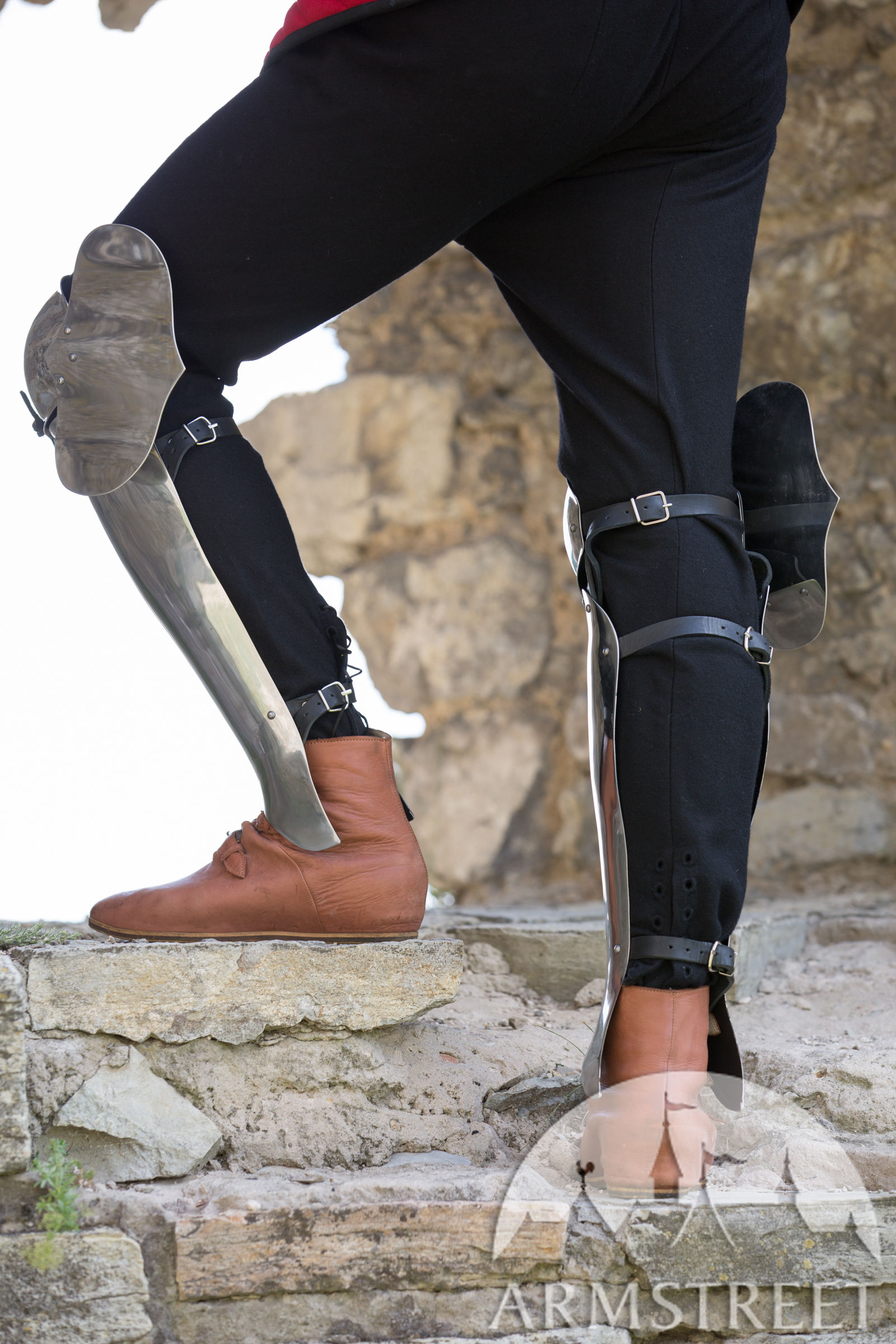 medieval legs armor greaves with knee cops flexible for